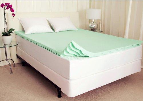Sleep Studio 2-Inch ViscO2 Active Green Tea Memory Foam/Latex Comfort Wave Mattress Topper, Cal King