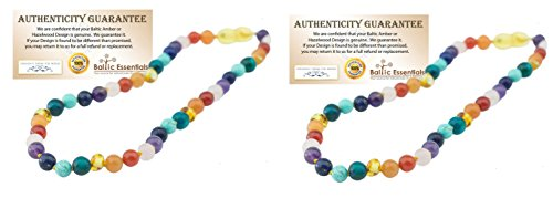 TWO Pack - Baltic Essentials 12.5 inch Baltic Amber Necklace Rainbow Honey Amber Pink Rose Quartz Red Agate Amethyst Aventurine Cyrsocolla Baby, Infant, Toddler, Big Kid. (2 Pack)