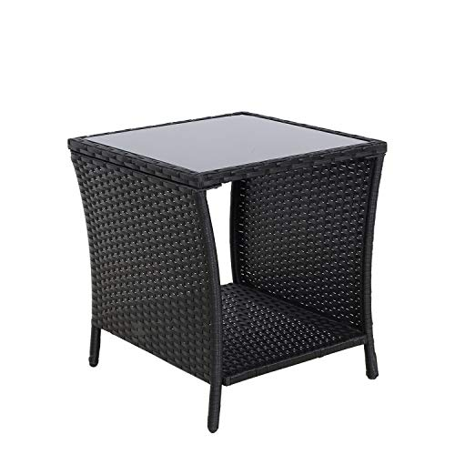 SOLAURA Furniture Outdoor Patio Table Steel Frame Grey Wicker Coffee Table Square Side Table Tempered Glass ()