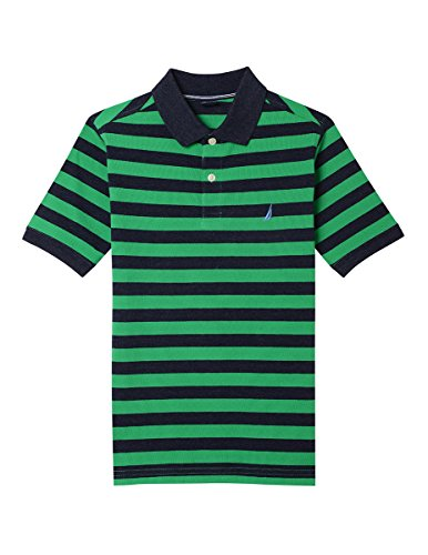Nautica Boys' Little Short Sleeve Striped Deck Polo Shirt, Harrison Bright Green, 4