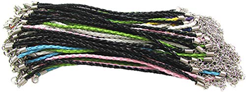 3.0mm Mixcolor Round Folded Braided PU Leather Bracelet Cord with 2'' Extension Chain Lead&Nickel Free 100Pcs