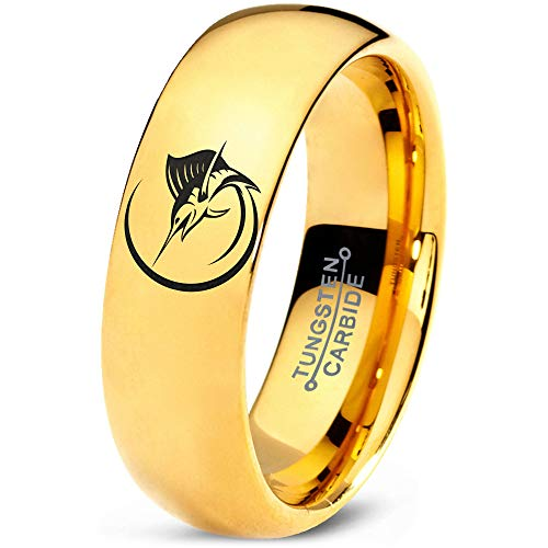 (Zealot Jewelry Tungsten Marlin Marlins Sea Animal Creature Fish Band Ring 7mm Men Women Comfort Fit 18k Yellow Gold Dome Polished Size 6)