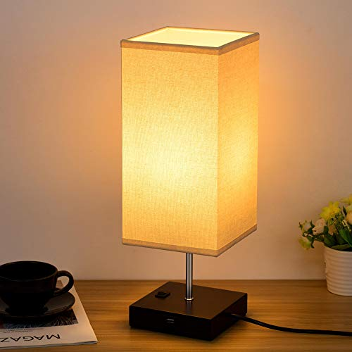 Table Lamps with USB Charging Port, Solid Wooden Nightstand Lamp with Fabric Shade, Modern Bedside Lamp, Ambient Light Perfect for Bedroom Living Room Office, Black Painted Square Base L6 × W6 × H15.