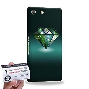 Case88 [Sony Xperia M5] 3D impresa Carcasa/Funda dura para & Tarjeta de garantía - Art Fashion Diamond Nebula Cyan