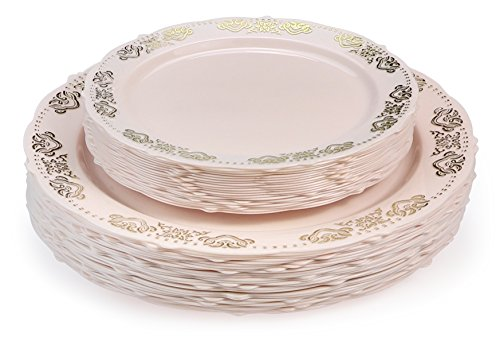 OCCASIONS 50 PACK (25 guest) Vintage Party Disposable Plastic Plates Set - 25 x 10.25'' Dinner + 25 x 7.5'' Salad/Dessert Plate (50 pcs, Portofino Blush/Pink & Gold) …
