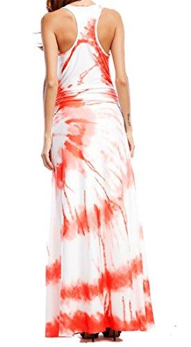 Swing Leisure A Orange Womens Sleeveless Printed Tank Dress Summer Cromoncent Line Maxi w0q84I0P