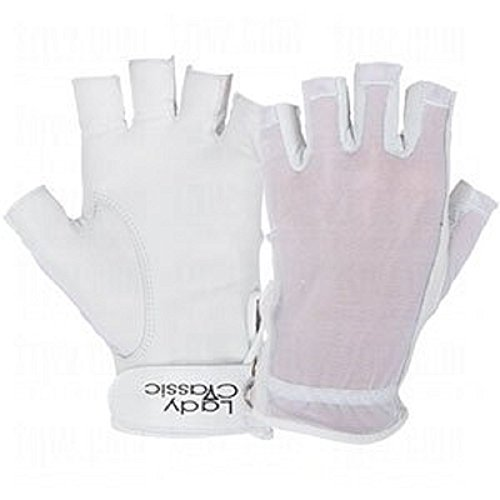 Lady Classic Ladies Solar Tan Golf Half Glove 1/2 Glove White Left Medium