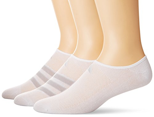 adidas Men's Climacool Superlite Stripe Super No Show Socks (3 Pack), White/Grey/Clear Onix, Size (Adidas White No Show Socks)