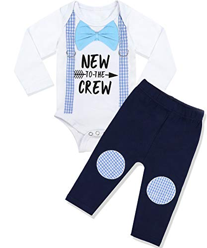 Newborn Baby Boy Clothes New to The Crew Letter Print Romper+Long Pants 2PCS Outfits Set 3-6 Months