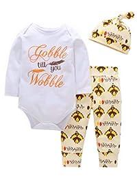 MOUSYA Newborns Thanksgiving Letter Print Romper Outfit Turkey Print Pants Set