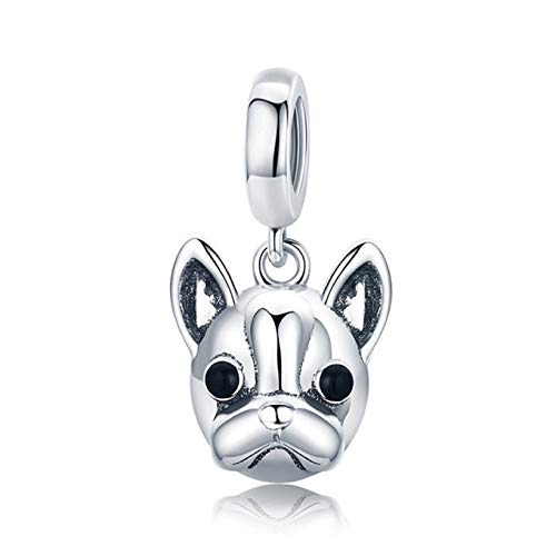 EVESCITY Several Dog Puppy Breeds 925 Sterling Silver Beads for Charm Bracelets ♥ Best Jewelry Gifts for Pet Owners ♥ (Boston Terrier Dangle)
