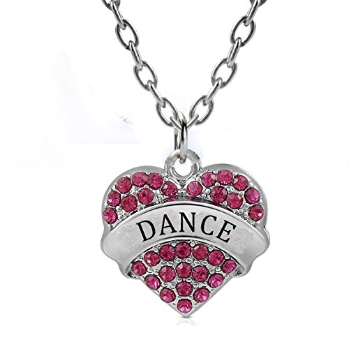 (Godyce Dance Gifts Heart Pendant Necklace Women Girl - Charm Silver Jewelry Red)