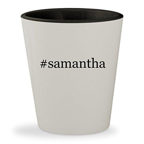 #samantha - Hashtag White Outer & Black Inner Ceramic 1.5oz Shot Glass