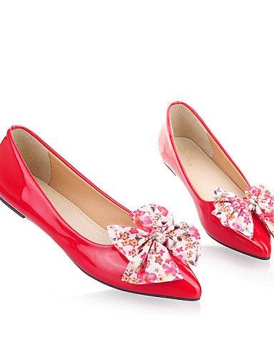 azul zapatos de punta negro de uk6 rojo piel Flats talón sintética mujer plano Toe Casual PDX cn39 black us8 eu39 OEqfxw55