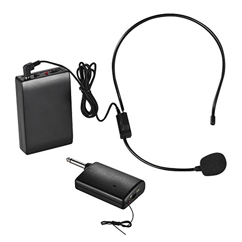 ammoon FM Wireless Microphone Headset System Voice Amplifier 1/4in Output Plug with Bodypack Transmitter Receiver