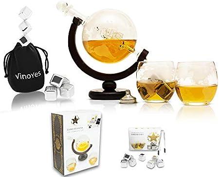 Jarra de whisky con 8 piedras de whisky y vasos. Buen embalaje. Top Decantador