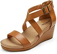 DREAM PAIRS Women's Open Toe Buckle Ankle Strap Summer Platform Wedge San