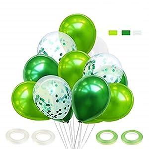 60 Pièces Ballon Vert Foncé, Ballon Confettis, Ballon Anniversaire, Ballon Bapteme, Ballon Vert et Blanc pour Cérémonie…