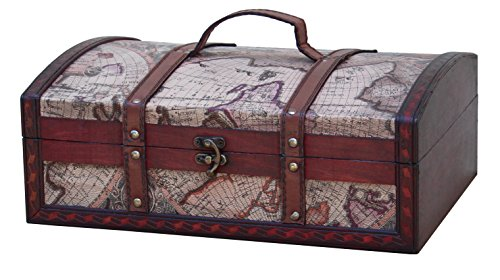 Old World Map Treasure Chest - 14 Inch. (Old Treasure Map)