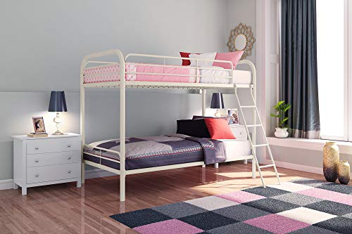 - DHP Twin-Over-Twin Bunk Bed with Metal Frame and Ladder, Space-Saving Design, White