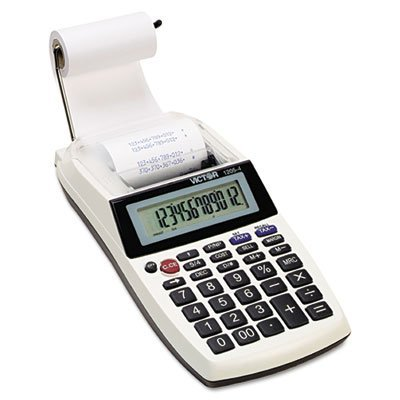 Victor 12054 1205-4 Palm/Desktop One-Color Printing Calculator, Black Print, 2 (2 Print Lines)