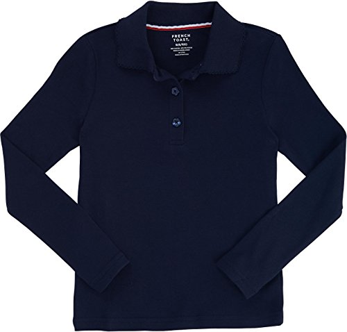 French Toast School Uniform Girls Long Sleeve Polo with Picot Collar