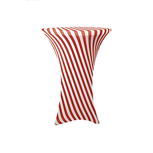 (Your Chair Covers - 30 inch Cocktail Round Stretch Spandex Table Cover - Red White Striped, Stretch Tablecloth)