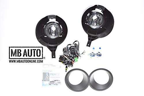 2005-2017 Nissan Frontier METAL BUMPER ONLY Fog Lights Lamps Clear Kit Wiring Switch Bumper Bezels H11 PERDE BULB UPGRADE Bright White replacement 26155-EA525 26150-EA525 NI2592120 NI2593120