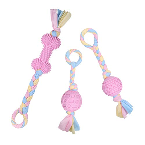 PUPTECK Dog Chew Rope Toys - 3 Pack Durable Interactive Dog Toys with Pink and Blue Rope,Pet Teething Toys for Medium Large Dogs