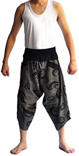 Siam Trendy Men's Japanese Style Pants One Size Black Tradition Stone smile design by Siam Trendy