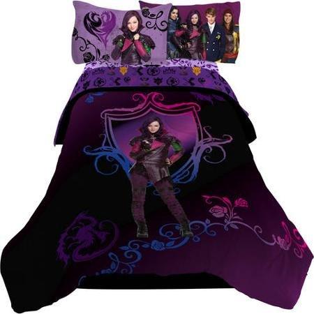 Disney Original Descendants Bedroom Collection with Reversible Comforter, Full 4-pc Sheet Set, Plush Throw