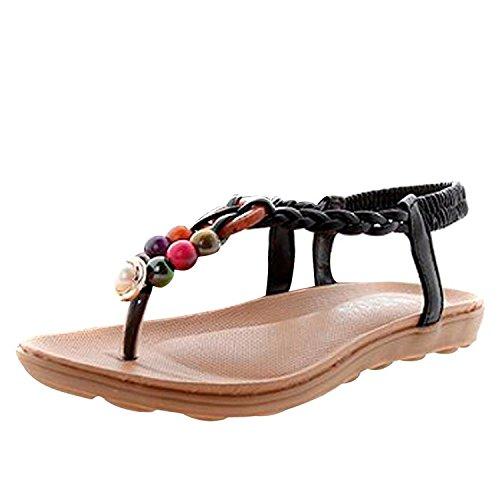 Noir Accessoires Tong Chaussures Femme de bohême plage Perle de Minetom Vacances Glissement wqaxTOBPx