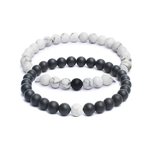 Couple Bracelet for Men & Women, Black & White 8mm Beaded Link Bracelet Matte ()