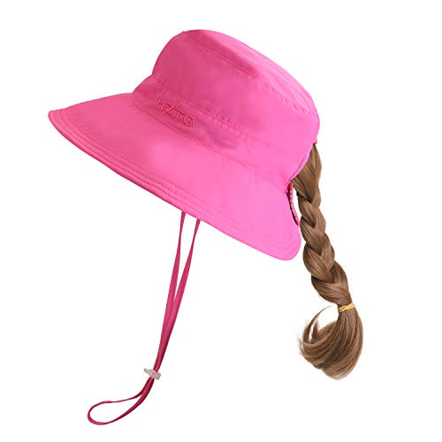 - Kid's Girl's Wide Brim Bucket Sun Hat UV50+ Protection Women's Reversible Bucket Hat Packable Beach Play Hat with Ponytail Hole (Rose Red, Kids (21.26