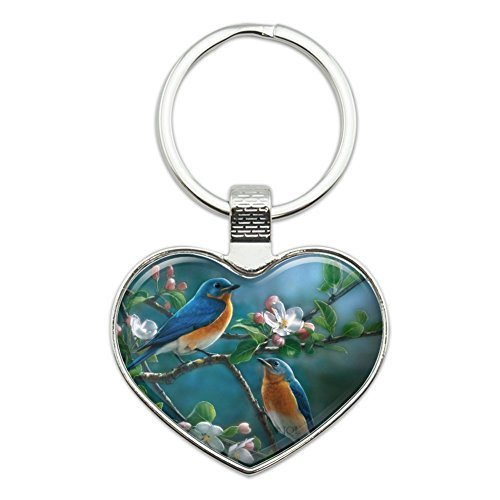 Eastern Bluebirds Blue Birds Thrush Heart Love Metal Keychain Key Chain Ring