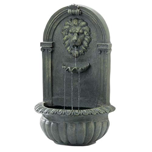 Cascading Fountains Regal Lion's Head Stone-Look Wall-Mounted Garden Fountain, Mossy Green