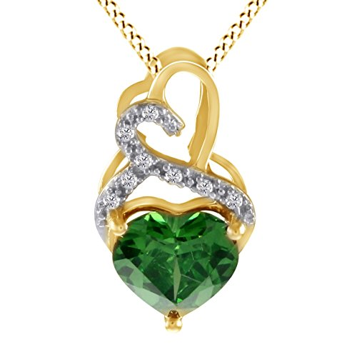5.66 Ct Simulated Green Emerald With Natural Diamond Heart Cut Pendant Necklace 925 Sterling Silver ()