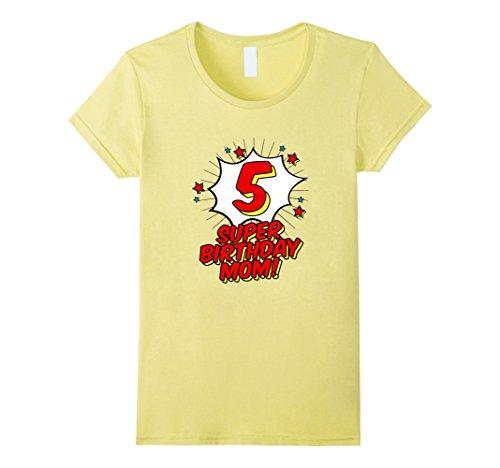 Womens 5th Fifth Birthday Mom T Shirt Superhero Super Hero Party Medium Lemon