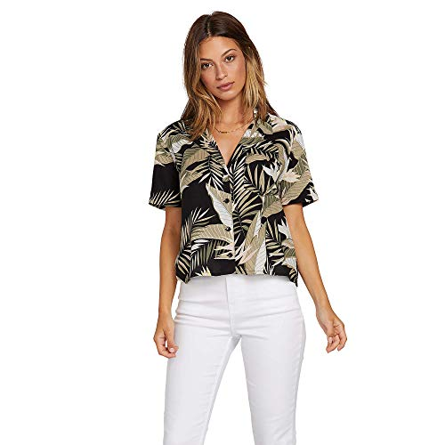 Volcom Junior's Women's Gen Wow Slight Crop Boxy Short Sleeve Shirt, Black, Small ()