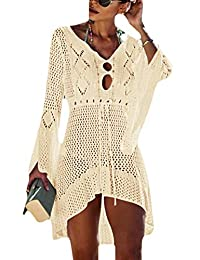 Bsubseach Women Crochet Swimsuit Cover Up Hollow Out Flare Sleeve Beach Dress