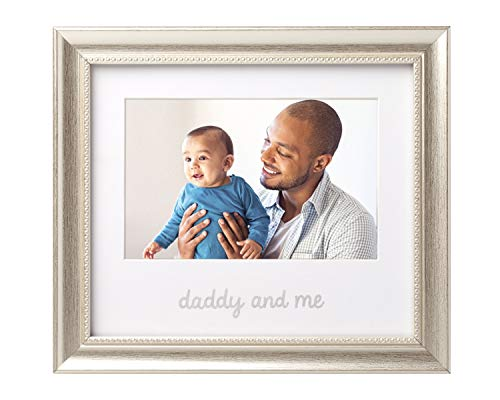 Lil Peach Daddy and Me Keepsake Frame, Fathers Gift to Dad from Daughter or Son, Dad Birthday Gift Ideas, Silver (Silver Frame Daughter Heart)