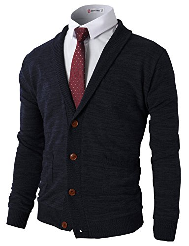 H2H Mens Basic Shawl Collar Knit Cardigan Sweaters NAVY US M/Asia L (CMOCAL07)