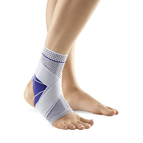 Bauerfeind MalleoTrain S Open Heel Ankle Support, Right 3, Titanium/Gray with Blue Accents Ankle Accent