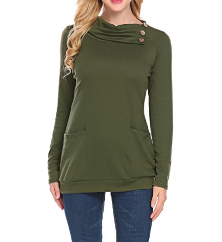 rs For Women, Ladies Turn Down Button Collar Raglan Sleeve Banded Hem Pockets Warm Loose Pullover Tunic Top Shirt Juniors (S, Army Green) ()