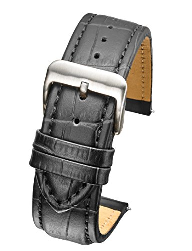 Heavy Padded & Stitched Genuine Leather Alligator Grain Watch Band in Extra Long Length for Wider Wrists ONLY- Black - 22XL (fits Wrist Sizes 7 1/2 to 9 inch)