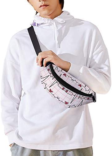 EKGチェック柄 ウエストバッグ ショルダーバッグチェストバッグ ヒップバッグ 多機能 防水 軽量 スポーツアウトドアクロスボディバッグユニセックスピクニック小旅行