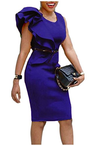 Party Sleeveless Asymmetry Ruffle Bodycon Jaycargogo Dress Midi Sexy Blue Womens wY4nqPFxOP