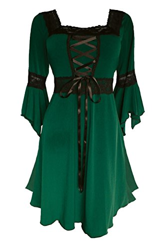 Dare to Wear Renaissance Corset Dress: Victorian Gothic Boho Plus Size Witchy Women's Gown Everyday Halloween Cosplay Festivals, Envy 2X