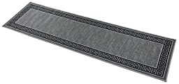Meander Design Printed Slip Resistant Rubber Back Latex Runner Rug and Area Rugs 5 Color Options Available (Grey, 23\