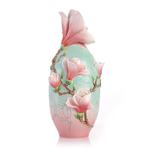 FZ03414 Franz New introduction Beauty in Serenity - Magnolia Design Sculptured Porcelain - Porcelain Sculptured Vase Design